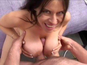 Dark haired Daphne Rosen with gigantic mind blowing gazognas and great oral...