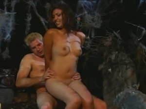 Shameless cock riding brunette slut