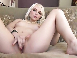 Ashley Jane with small tities and shaved pussy parts her legs to fuck herself...