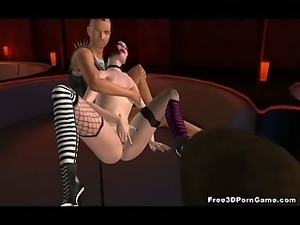 Sexy 3D cartoon redhead babe getting double teamed
