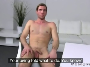 Long haired amateur dude has casting with female agent