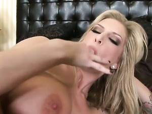 Brooke Banner touches her pussy and melons gently