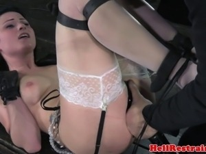 Fetish bdsm sub tied up and punished by male dominator