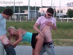 Young pretty blonde teen girl fucked hard in public group sex orgy Part 1