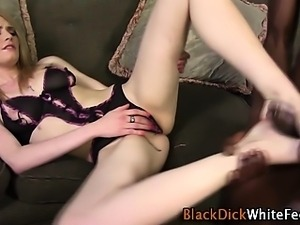 White feet cummed on by black cock