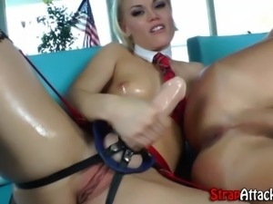 Strapon ass ramming stockings clad domina toys her pussy