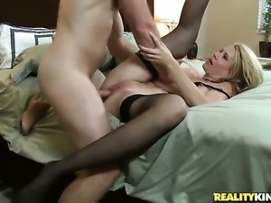 Blonde has fire in her eyes as she gets her throat fucked by her bang buddy