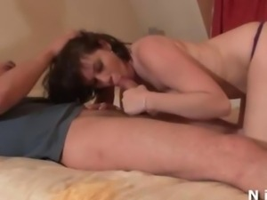 Sporty and horny french brunette with small tits gets her tight ass hammered