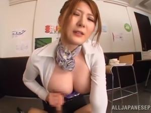 busty office girl sucks a cock