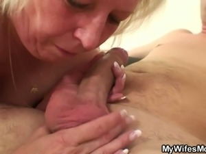 Wife shops while her horny mom humps young cock.