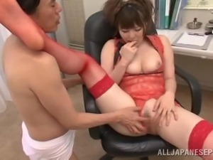 momoka in red lingerie has a pair of giant tits