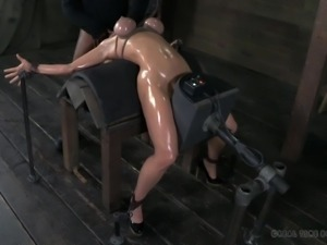 oiled, tied and brutally face fucked