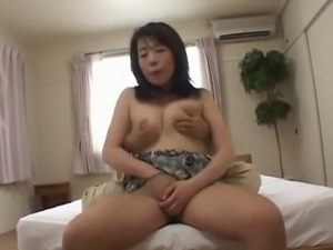 Big tits mom Seiko fingering her cunt