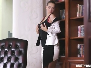 busty buffy plays with her pussy