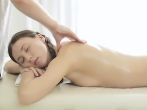 Beauteous nymph mixes massage and sex scene