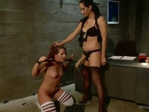 lesbian couple in a crazy bdsm session
