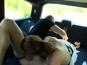 Horny couple pounding in the backseat of strangers car