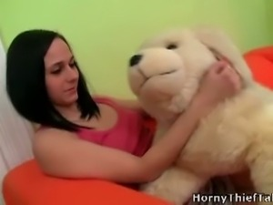 Delicious teen gets two hard dicks