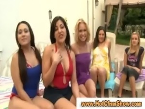 Amateur babes sucking cock and licking pussy in sexparty by the pool free