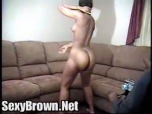 Bubble butt Sexy Brown Applebottom with small perky boobs free