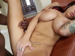 Glamorous busty model pleasures a big black cock