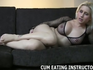 Cum for me and then lick it all up cei