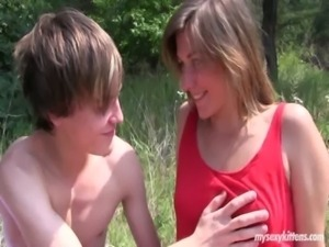 Shy teen Bella gets fucked in the wood free