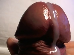 Big Headed Cock Extreme Close Up Cum Shot