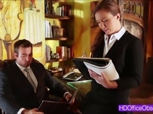 Horny secretary Maddy OReilly gets tight pussy fuck by