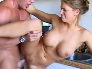 Busty college babe fucked in kitchen