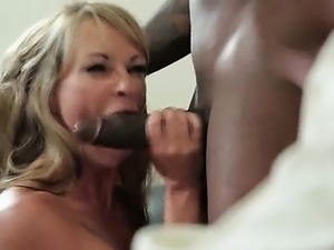 Wild blonde slut loving huge black penis
