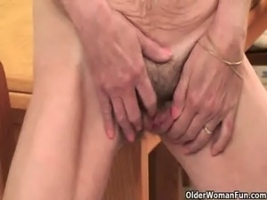 Saggy granny with hairy pussy finger fucks free