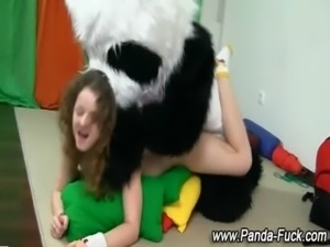 Toy panda and teen fake facial free