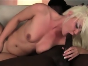 Kinky blonde deep throats huge black shaft