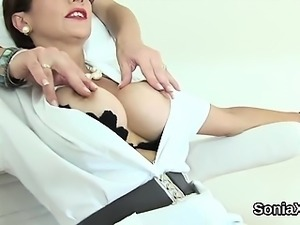 Unfaithful british milf lady sonia pops out her massive knoc
