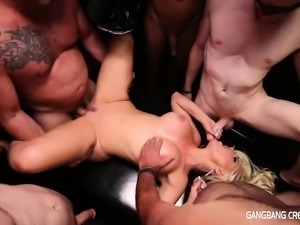 Alena Luv gets Creampied by 5 guys