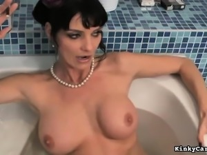 Sexy blonde and brunette dommes spank and fuck a hot tranny's ass