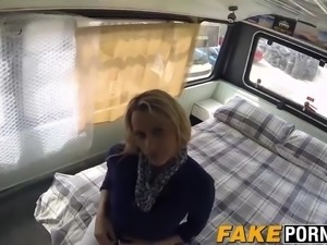 Busty blonde babe Britanny gets big cop dick for money
