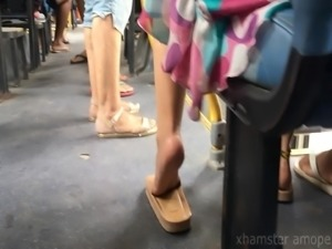 Candid hot girl feet and soles in public bus