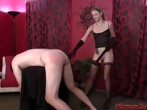 Femdom beating and pussy worship by Mistress Riley