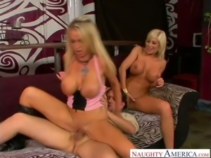 Big breasted spoiled blondie Puma Swede shares hard meaty cock with another...