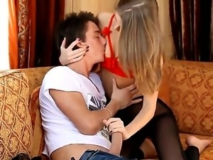 Having her hot cousin visiting her, sweet babe Anjelica seduces him by slowly...