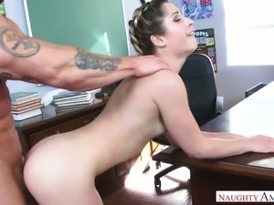 Petite bodied Goldie Rush fucks handsome teacher in his office