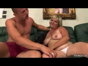 Chubby Granny Screams On Huge Cock