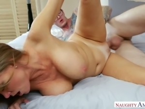 Long haired mature slut with fake jugs Darla Crane seduced 4 eyed dude and...
