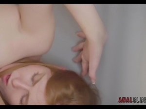 Redhead in Stockings Likes Anal Sex