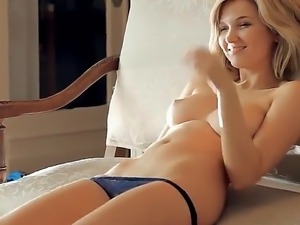 Turned on stunning blonde beauty Elisa A with perfect natural boobs and...