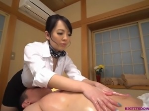 Monster tits asian giving a massage