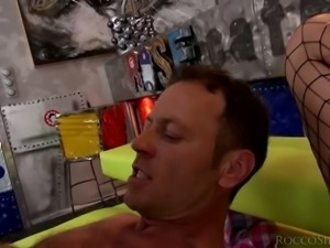 Tina Hot is enjoying the threesome banging of her lifetime with Rocco Siffredi