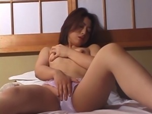 Asian milf masturbates for him and pulls his dick out to stroke